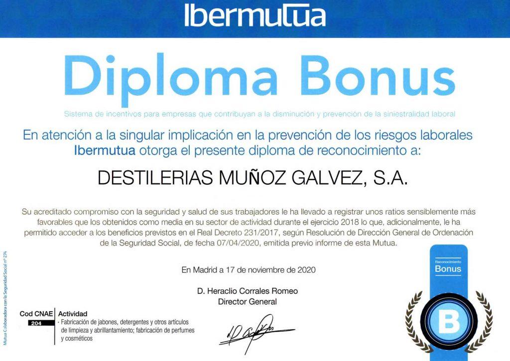 "Acknowledgement Diploma for the ""Bonus"" Incentive"